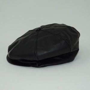 Vintage Leather Newsboy Hat